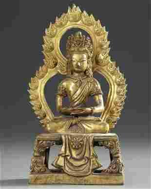 A CHINESE GILT BRONZE SEATED FIGURE OF BUDDHA AMITAYUS,