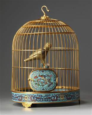 A CHINESE CLOISONNÉ ENAMEL BIRD CAGE, CHINA, 19TH