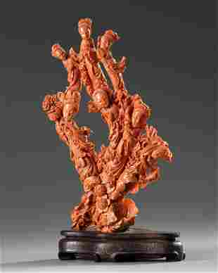 A CHINESE RED CORAL SCULPTURE, 19TH/20TH CENTURY