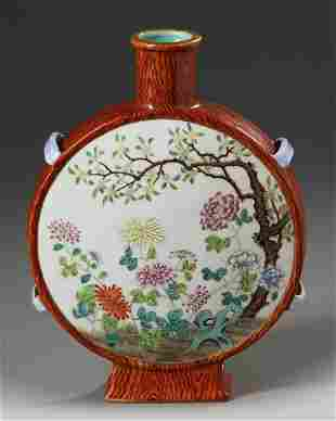 A CHINESE FAMILLE ROSE FAUX-BOIS MOON FLASK, CHINA,
