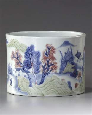 A CHINESE BLUE, COPPER-RED AND CELADON-GLAZED BRUSHPOT,