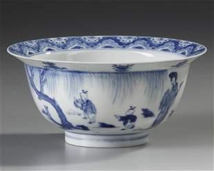 A CHINESE BLUE AND WHITE KLAPMUTS BOWL, KANGXI PERIOD