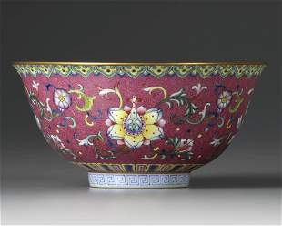 A CHINESE PINK-GROUND FAMILLE ROSE 'BOWL, QING DYNASTY