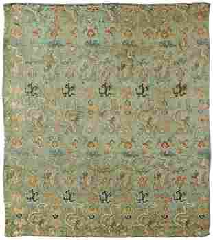 A GREEN-GROUND SILK EMBROIDERED 'DRAGON' PANEL, 18TH