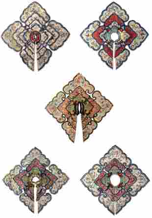 FIVE CHINESE LADIES EMBROIDERED SILK COLLARS, QING