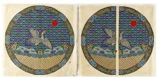 A PAIR OF EMBROIDERED CIRCULAR WOMAN'S RANK BADGE OF A