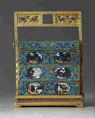 A CHINESE CLOISONNÉ ENAMEL THREE-TIERED LUNCH BOX,