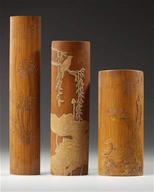 THREE CHINESE BAMBOO WRIST RESTS, 19TH-20TH CENTURY