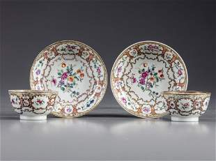 TWO PAIRS OF CHINESE FAMILLE ROSE AND GILT CUPS AND