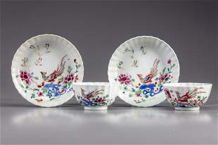 TWO PAIRS OF CHINESE FAMILIE ROSE CUPS AND SAUCERS,