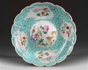 A CHINESE FAMILLE ROSE LOBED DISH, 18TH CENTURY