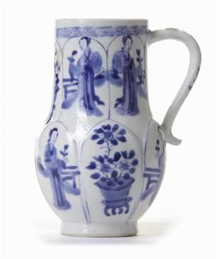 A CHINESE BLUE AND WHITE EWER, KANGXI PERIOD