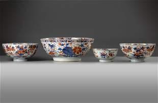 FOUR CHINESE IMARI BOWLS, 18TH CENTURY