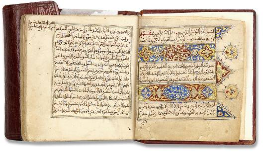 A SMALL ILLUMINATED QURAN WRITTEN IN MAGHRIBI SCRIPT,