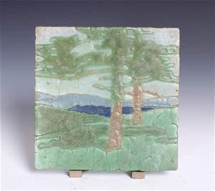 Grueby Arboreal Scene Glazed Tile