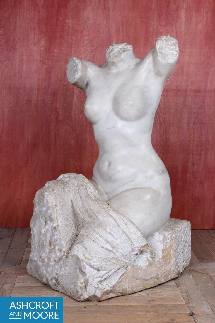 Carved Marble Figural Torso - 3