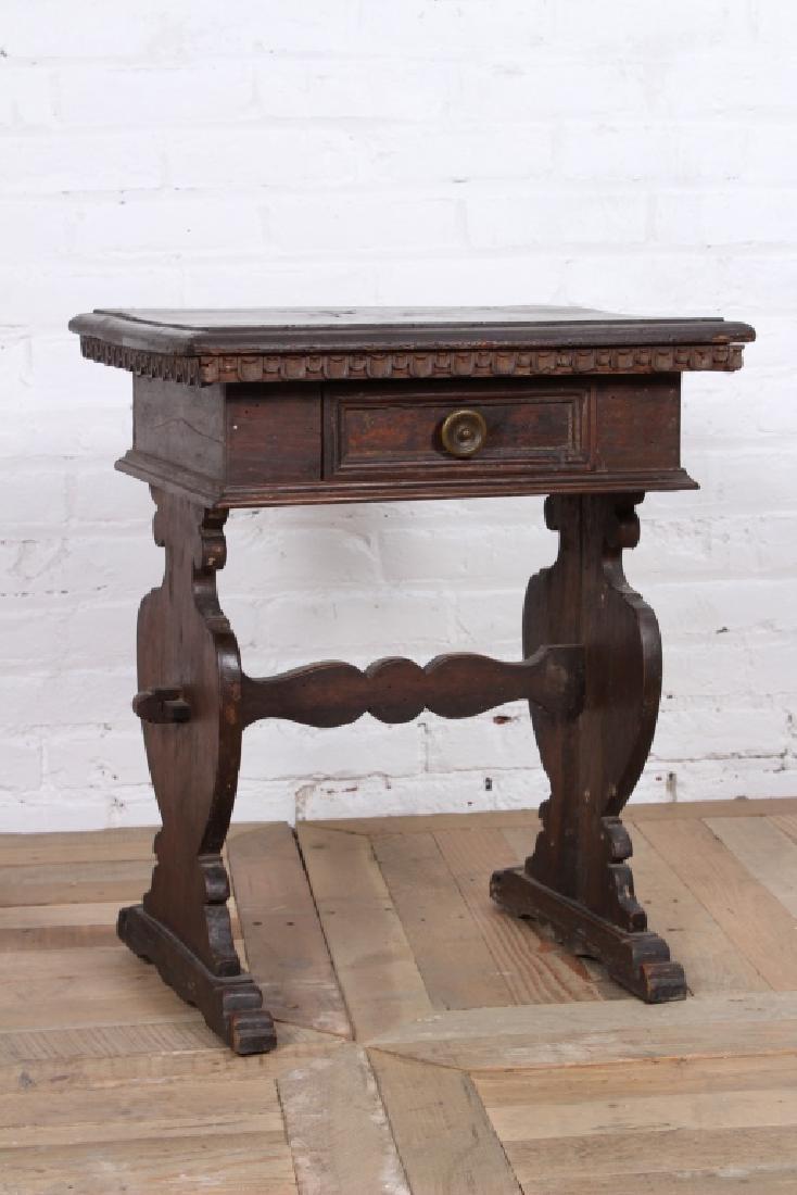 Antique Italian Walnut Side Table - 2