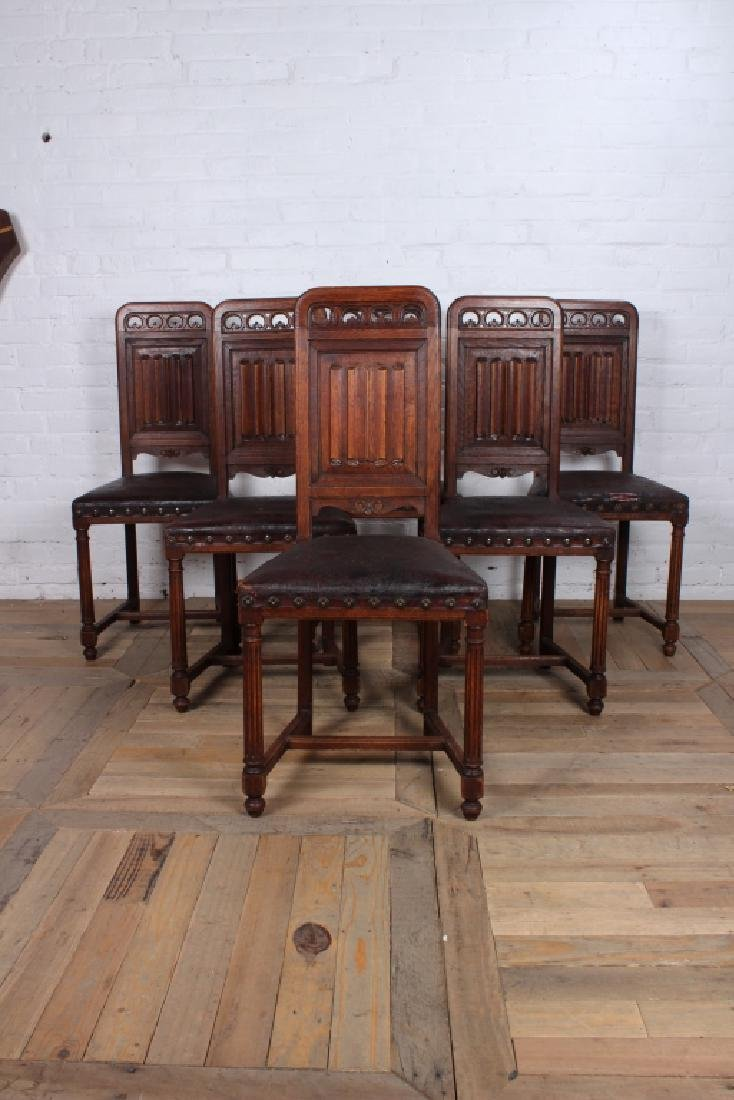 Set of 6 French Gothic Revival Chairs