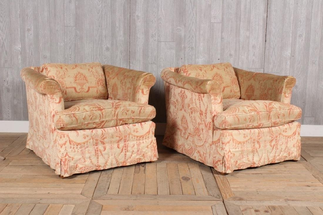 Pair Fortuny Clad Armchairs