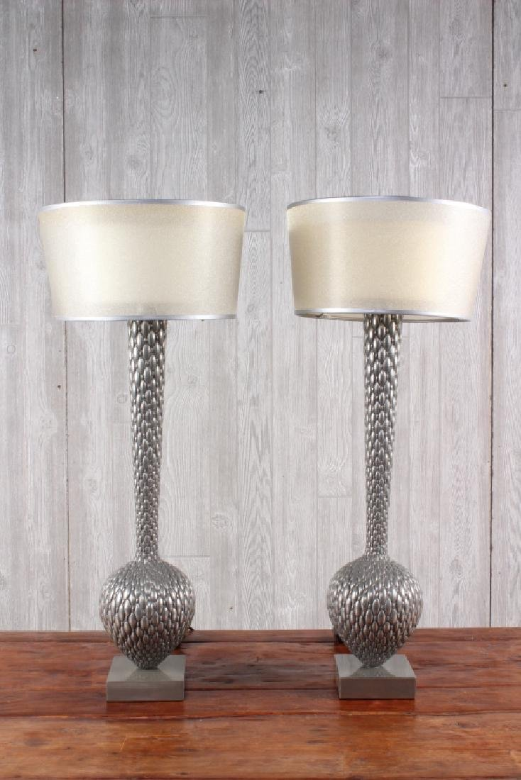 Pair Modern Bottle Form Metal Scale Lamps