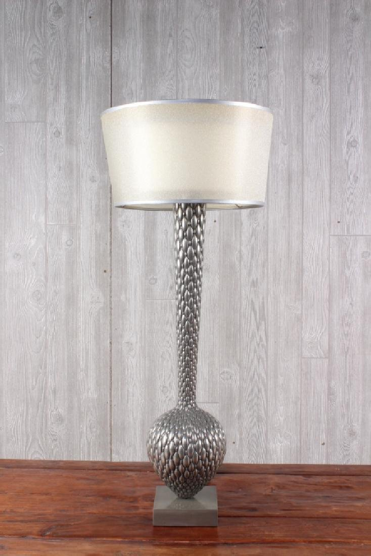 Pair Modern Bottle Form Metal Scale Lamps - 2