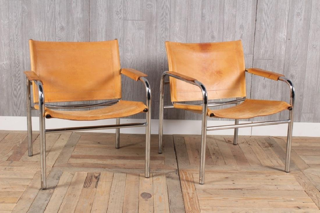 Pair Modern Leather and Chrome Sling Chairs