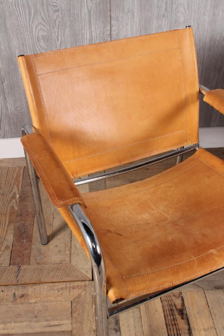 Pair Modern Leather and Chrome Sling Chairs - 2