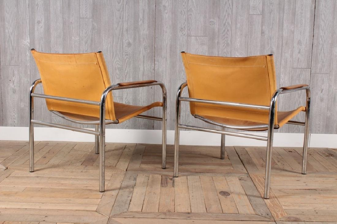 Pair Modern Leather and Chrome Sling Chairs - 3