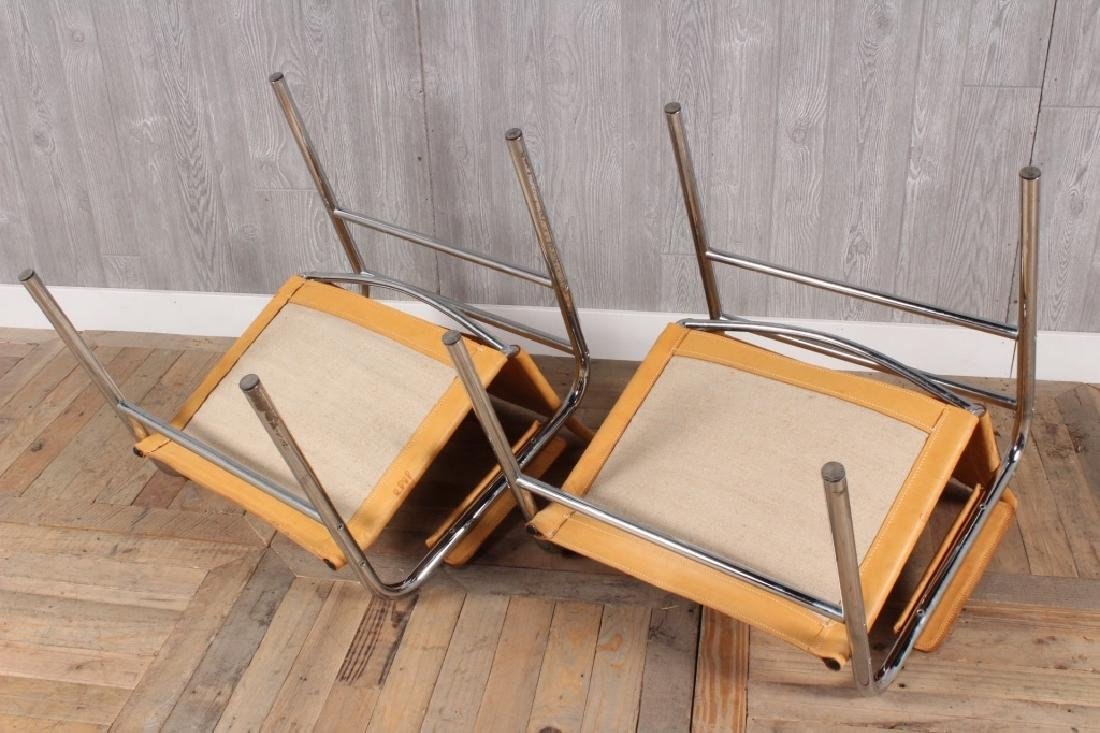 Pair Modern Leather and Chrome Sling Chairs - 4