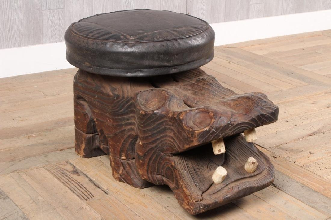 Vintage Witco Carved Wood Hippo Stool