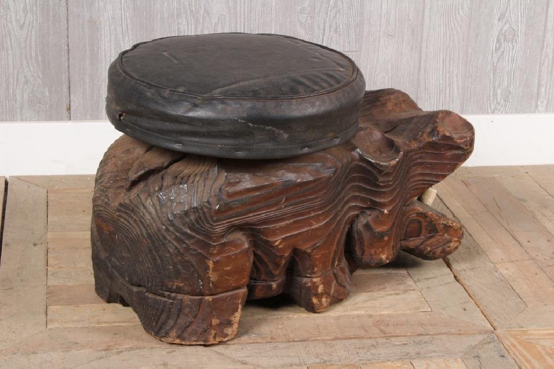 Vintage Witco Carved Wood Hippo Stool - 3