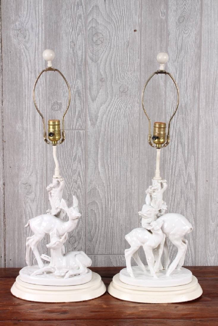Pair Mario Bandini Deer Lamps