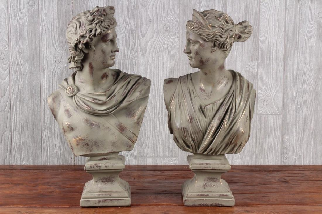 Pair Neo Classical Faux Patina Ceramic Busts