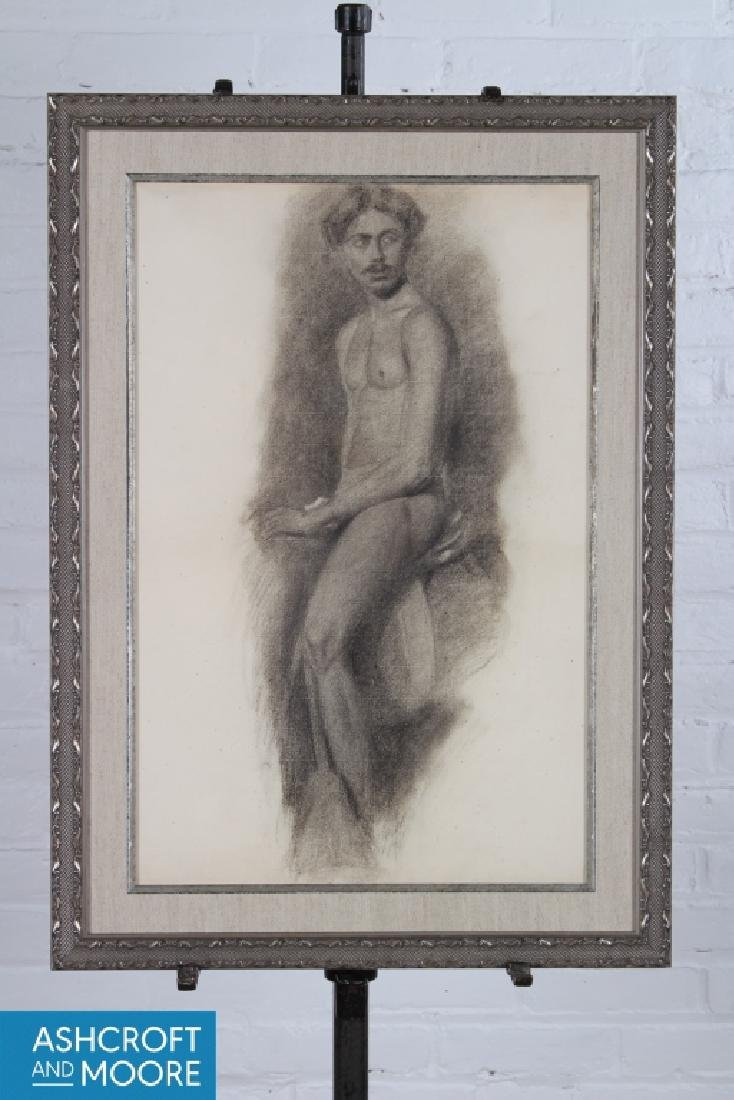 19th C Academic Figural Male Study Drawing