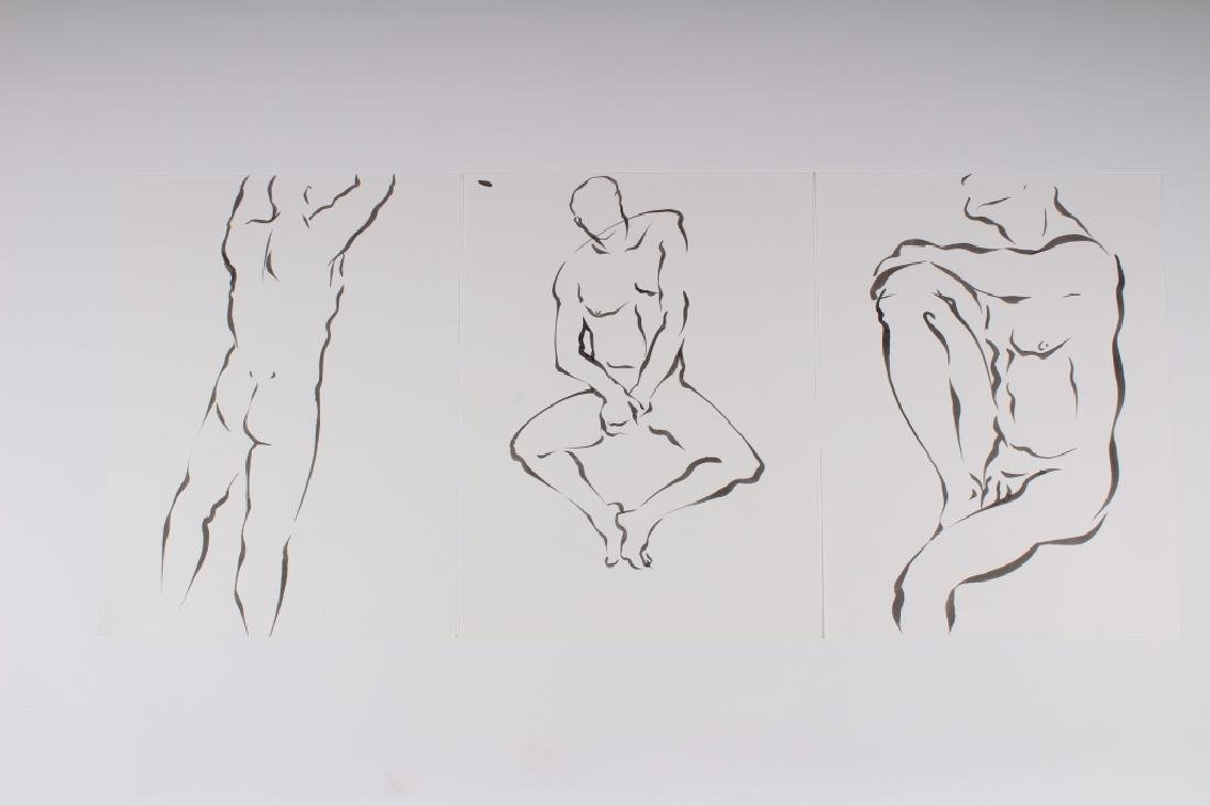 3 Ink on Paper Male Nude Studies