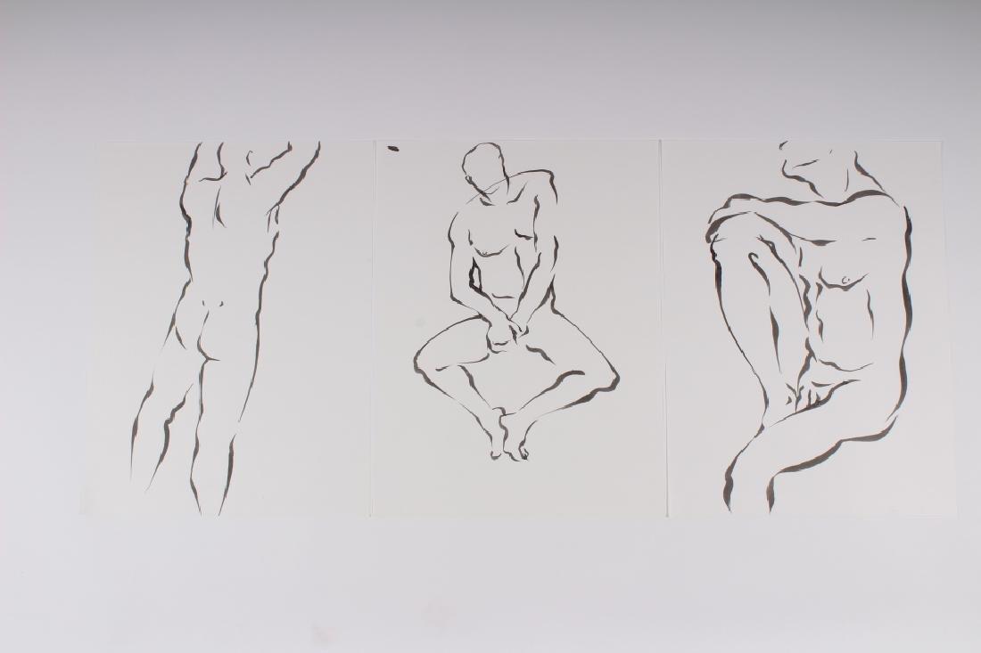 3 Ink on Paper Male Nude Studies
