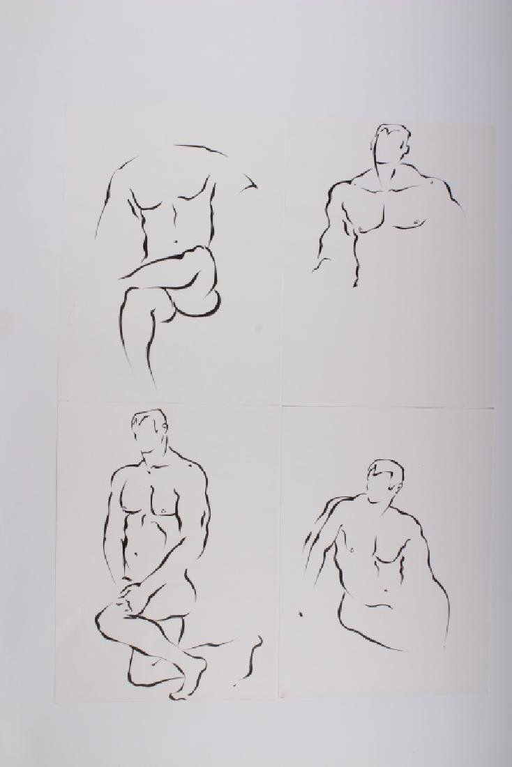 4 Academic Ink on Paper Male Nude Studies