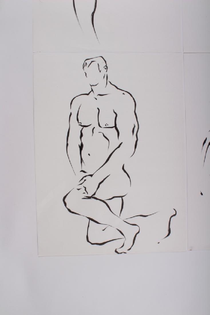 4 Academic Ink on Paper Male Nude Studies - 2