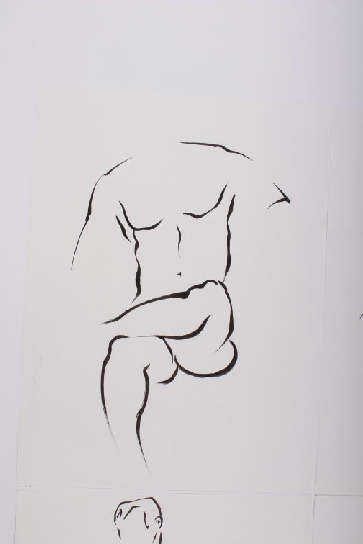 4 Academic Ink on Paper Male Nude Studies - 3