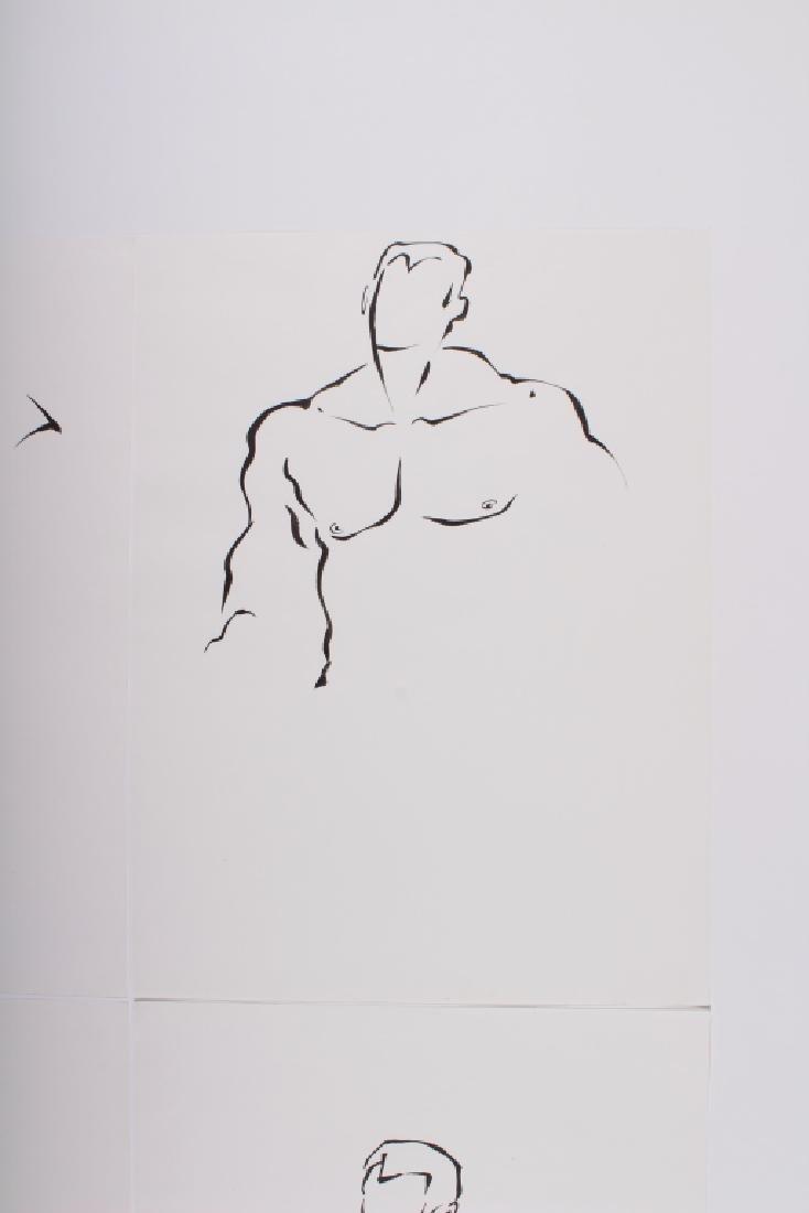 4 Academic Ink on Paper Male Nude Studies - 4