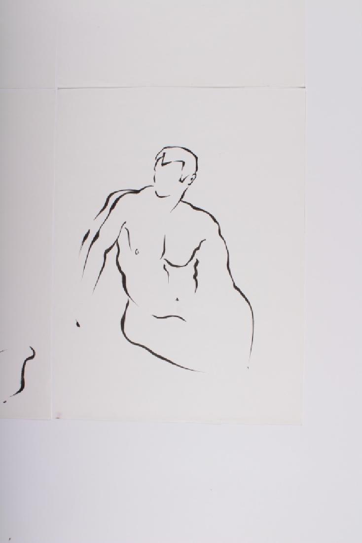 4 Academic Ink on Paper Male Nude Studies - 5