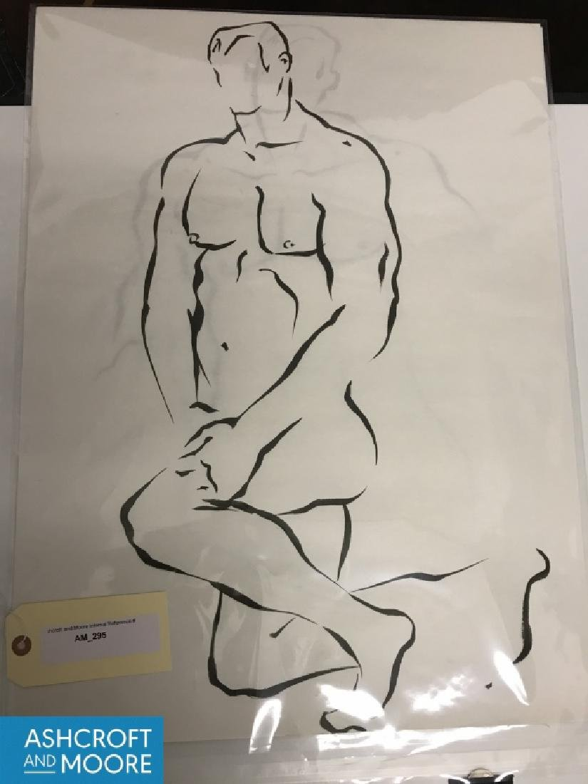 4 Academic Ink on Paper Male Nude Studies - 6