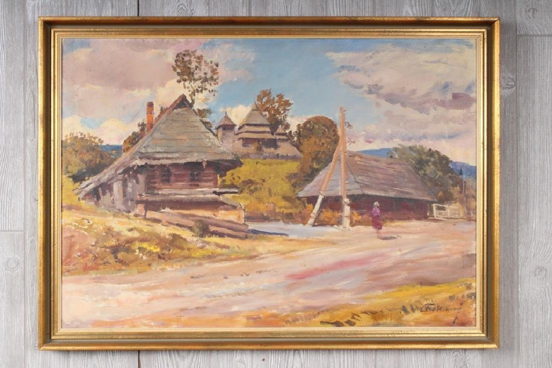 Russian Ukrainian Village Scene Painting