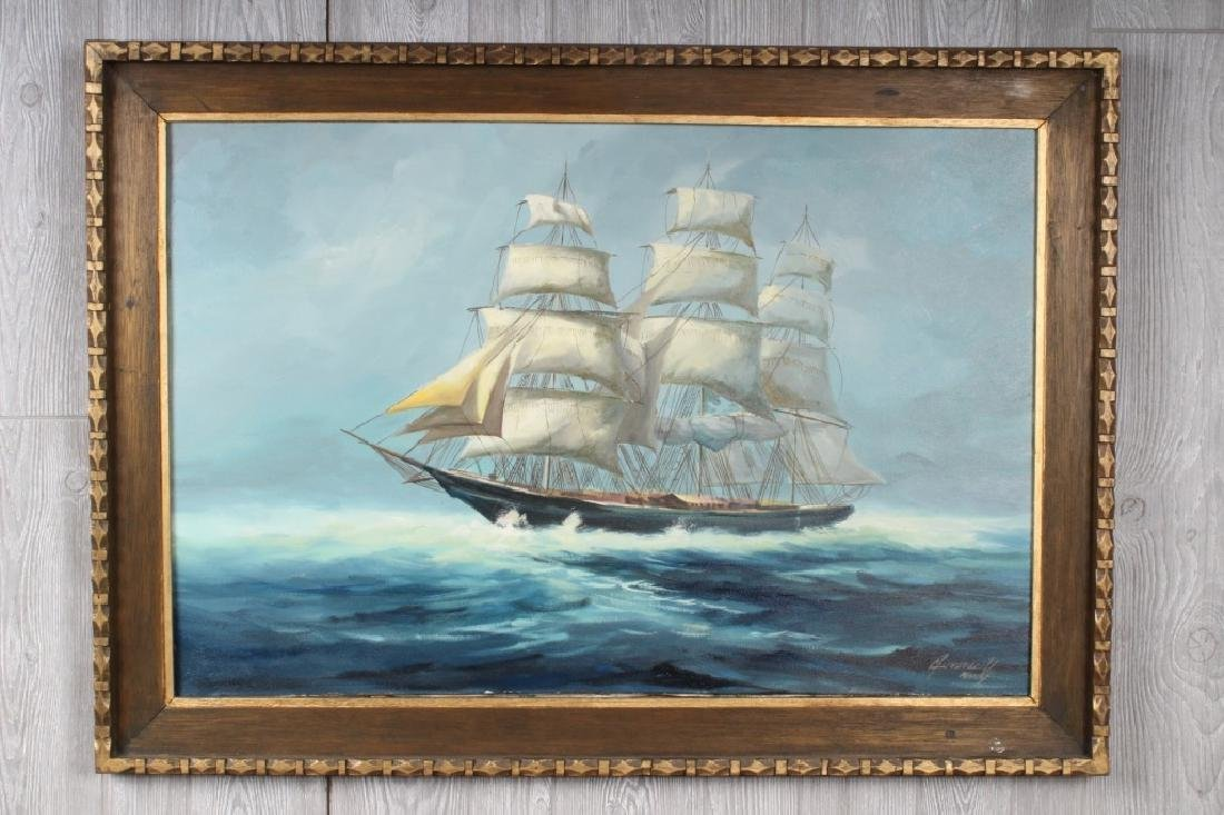 Vintage Tall Ship Clipper Painting Signed in Miami