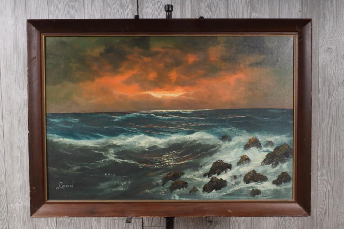 Turbulent Seascape Painting Signed Leonard