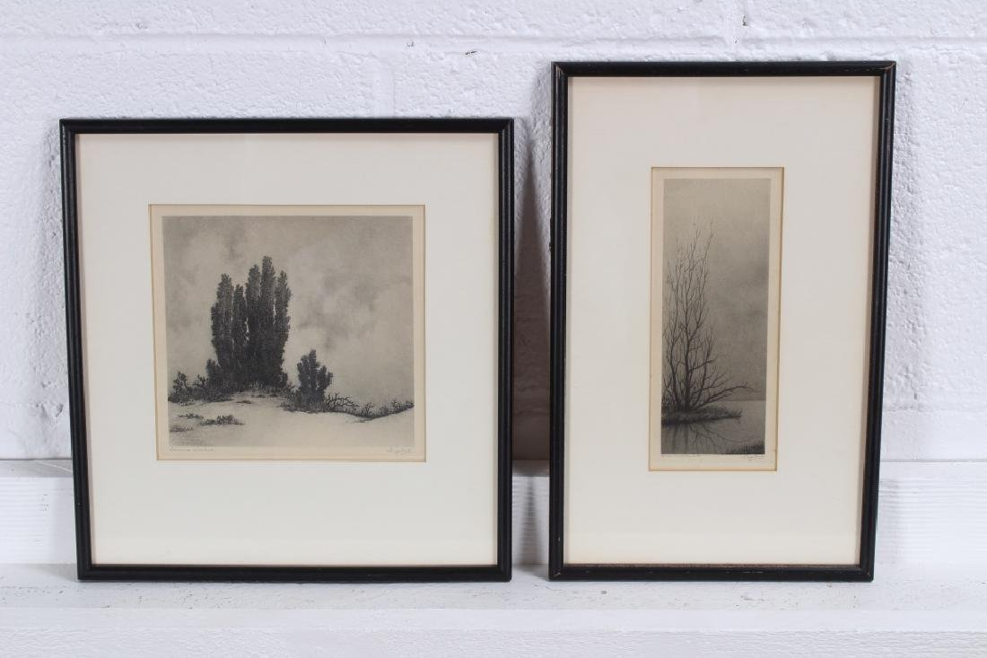 2 French Arboreal Etchings