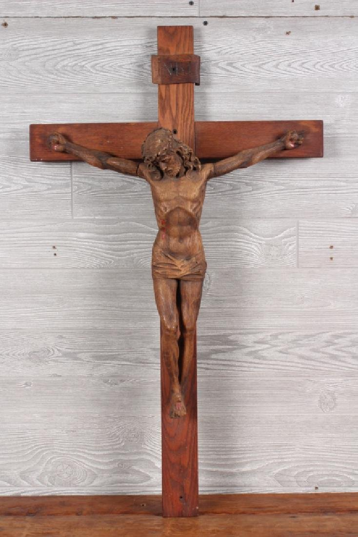 Fine Antique Carved Wood Crucifix