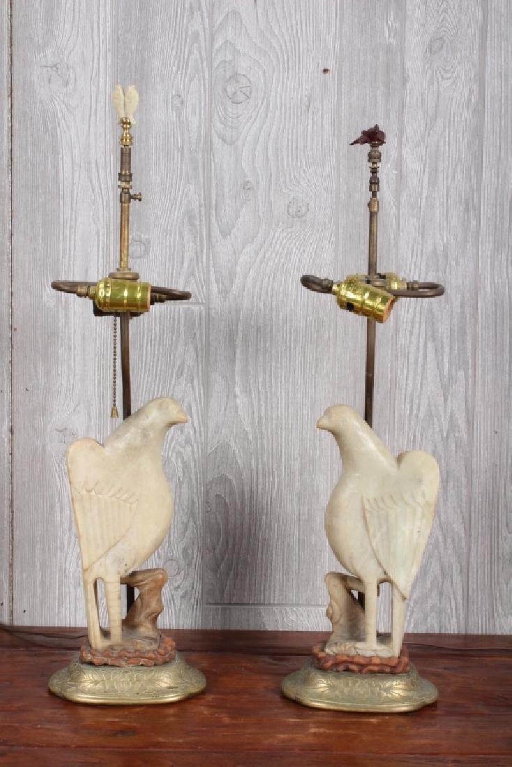 Pair Chinese Carved Stone Bird Lamps