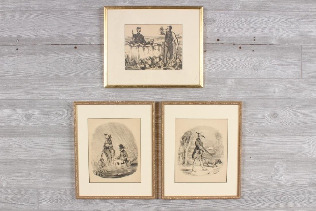 3 Honore Daumier Hunting Caricatures