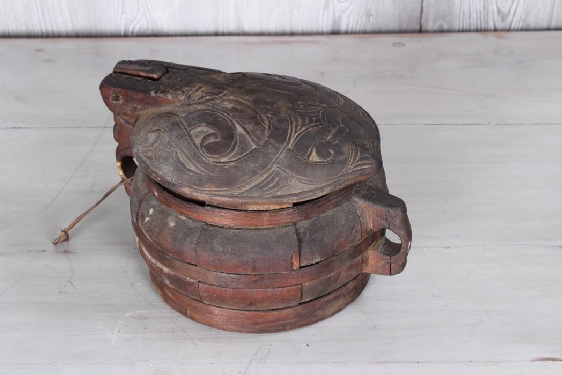 19th C Carved Wood Lidded Bowl